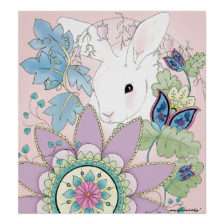 Floral Rabbit Poster