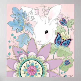 Floral Rabbit Poster
