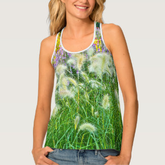 FLORAL RACERBACK TANK/TEE/WHITE ORNAMENTAL GRASSES TANK TOP