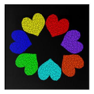 Floral Rainbow Love Hearts Acrylic Wall Art
