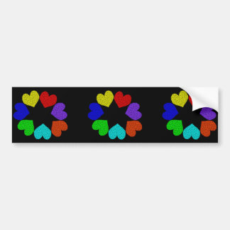 Floral Rainbow Love Hearts Bumper Sticker