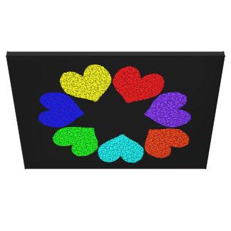 Floral Rainbow Love Hearts Canvas Print