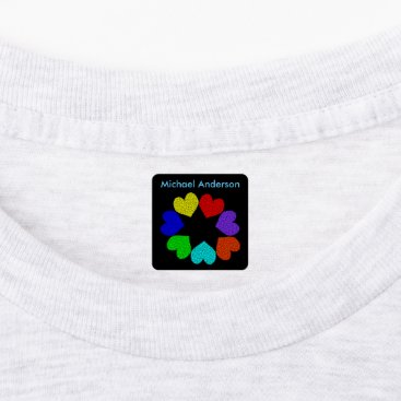 Floral Rainbow Love Hearts Clothing Labels