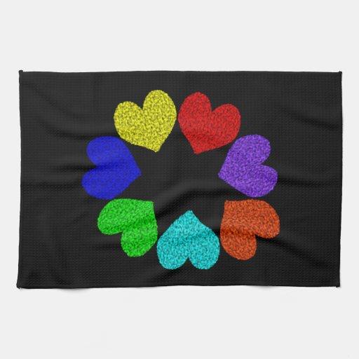 Floral Rainbow Love Hearts Kitchen Towel