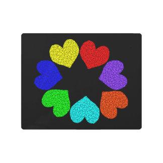 Floral Rainbow Love Hearts Metal Art Prints
