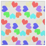 Floral Rainbow Love Hearts patterned Fabric