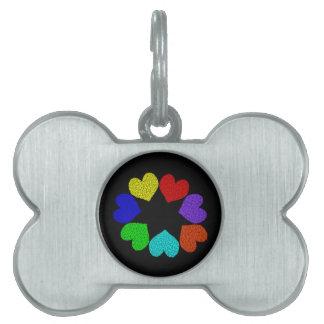 Floral Rainbow Love Hearts Pet Tag