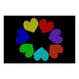 Floral Rainbow Love Hearts Poster