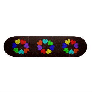 Floral Rainbow Love Hearts Skateboard