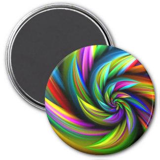 Floral Rainbow Spiral Flower 3 Inch Round Magnet