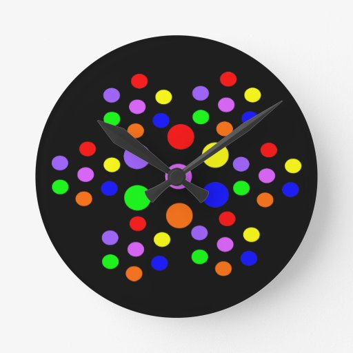 Floral Rainbow Spots Wall Clock