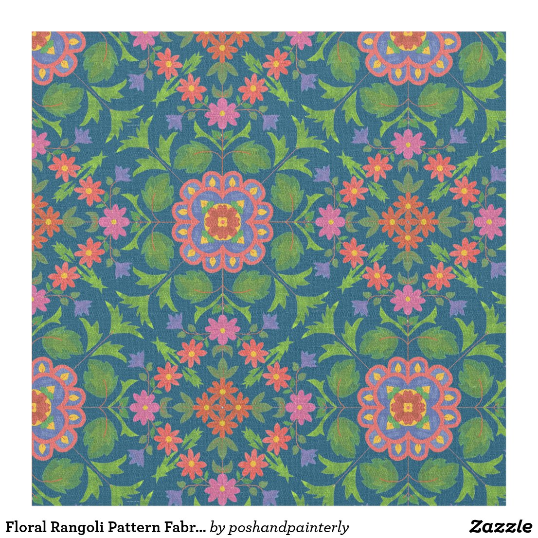 Floral Rangoli Pattern Fabric to Customize