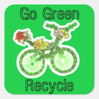 Floral recicle la bicicleta calcomania cuadrada personalizada