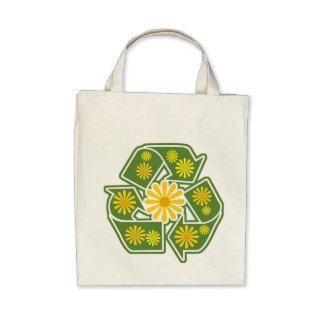 Floral recicle la bolsa de asas orgánica del ultra