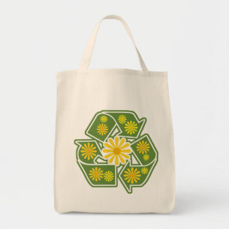 Floral Recycle Sign Organic Grocery Tote Bag