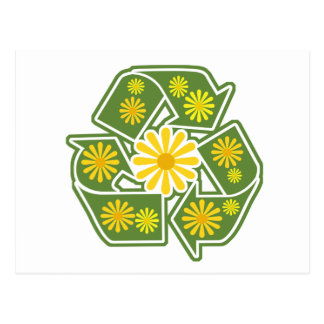 Floral Recycle Sign Post Card