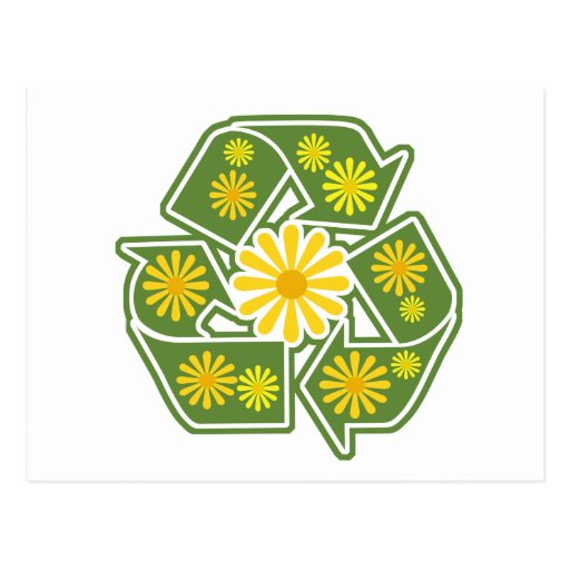 Floral Recycle Sign Postcard