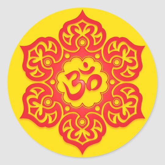 Floral Red and Yellow Aum Design Classic Round Sticker