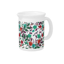 Floral Red , aqua and purple pitcher