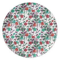 Floral Red , aqua and purple plates