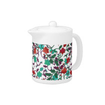 Floral Red , aqua and purple Teapot