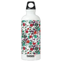 Floral Red , aqua and purple Water Bottle