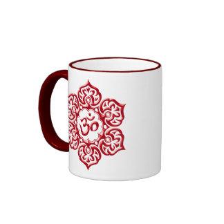 Floral Red Aum Design Ringer Mug