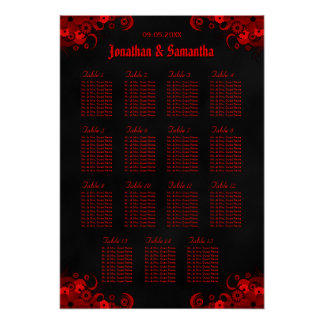 Floral Red & Black 15 Wedding Tables Seating Chart Poster