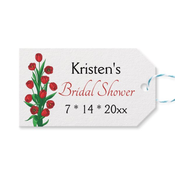Floral Red Bridal Shower Tulips Spring Flowers Gift Tags
