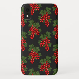 Floral Red Christmas Berries iPhone XR Case