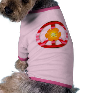 Floral Red Chrome Peace Sign Doggie T Shirt