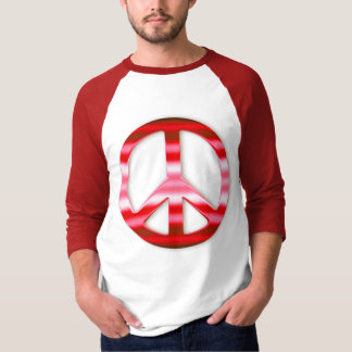 Floral Red Chrome Peace Sign T-Shirt