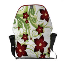 floral red  elegance messenger bag