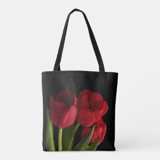 Floral Red Garden Tulip Flowers Tote Bag