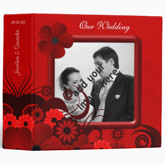 "Floral Red Gothic 2"" Wedding Guest Book Album 3 Ring Binder"