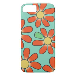 Floral Red Graphical on any Color iPhone 7 Case