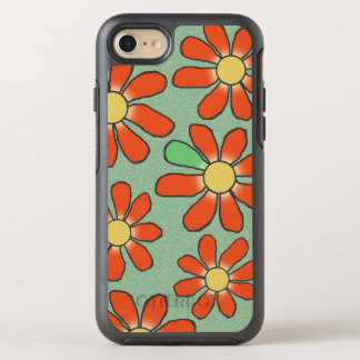 Floral Red Graphical on any Color OtterBox Symmetry iPhone 7 Case