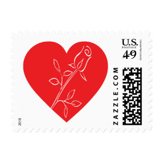 Floral Red Heart White Rose Flower Postage