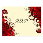 Floral Red Hibiscus Elegant RSVP Response Cards Postcards