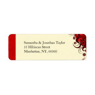 Floral Red Hibiscus Return Address Labels Favors Return Address Labels
