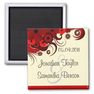 Floral Red Hibiscus Save The Date Fridge Magnets Magnet