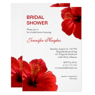 Floral Red Hibiscus Tropical Bridal Shower Invitation