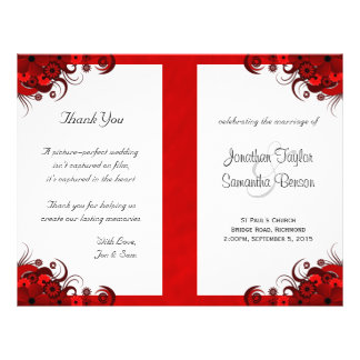 Floral Red Hibiscus Wedding Program Templates Personalized Flyer