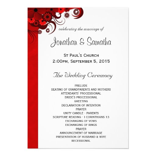 Custom Card Template envelope template for 5×7 card : Floral Red Hibiscus Wedding Program Templates Invitation