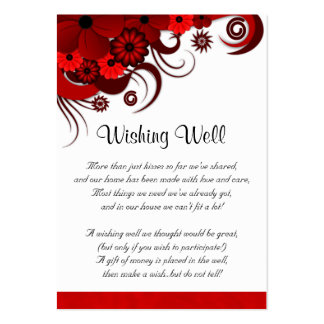 Floral Red Hibiscus Wedding Wishing Well Cards Business Card Template