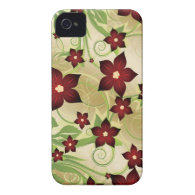 Floral red iPhone 4 covers