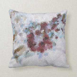 Floral Red, Lavender Blue and Violet Mosaic Throw Pillow