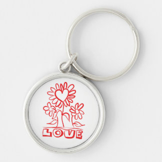 Floral Red Love Flowers & Hearts Keychain