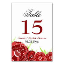 Floral red Personalized table numbers