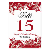 Floral red Personalized table numbers Card